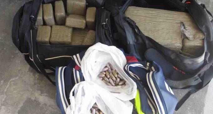 Dos detenidos en Grajera con cuarenta y cuatro kilos de hachís