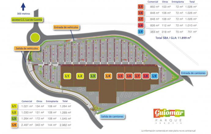 Plano del nuevo centro comercial de Segovia, Parque Guiomar.