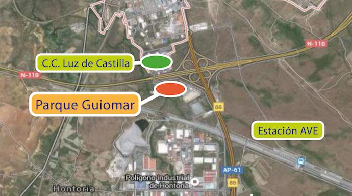 Ubicación del nuevo centro comercial de Segovia, Parque Guiomar.